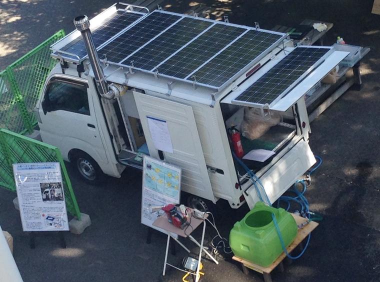 芝浦工業大学がスターリングエンジンとソーラーパネルで電気とお湯を非常時に供給できる電源車を開発 ~被災地に駆けつけ、インフラ復旧までをサポート~