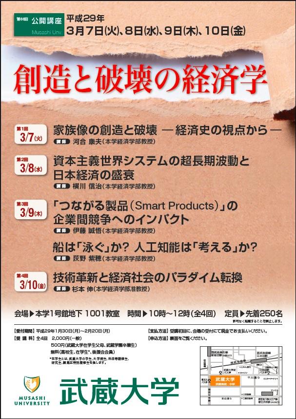 第66回公開講座「創造と破壊の経済学」を開催 -- 3月7・8・9・10日/10~12時 於:武蔵大学
