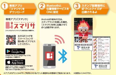 帝京大学がスマートフォン用アプリ「スマリサ」とビーコン(電波発信機器)を活用したオープンキャンパスイベントを実施