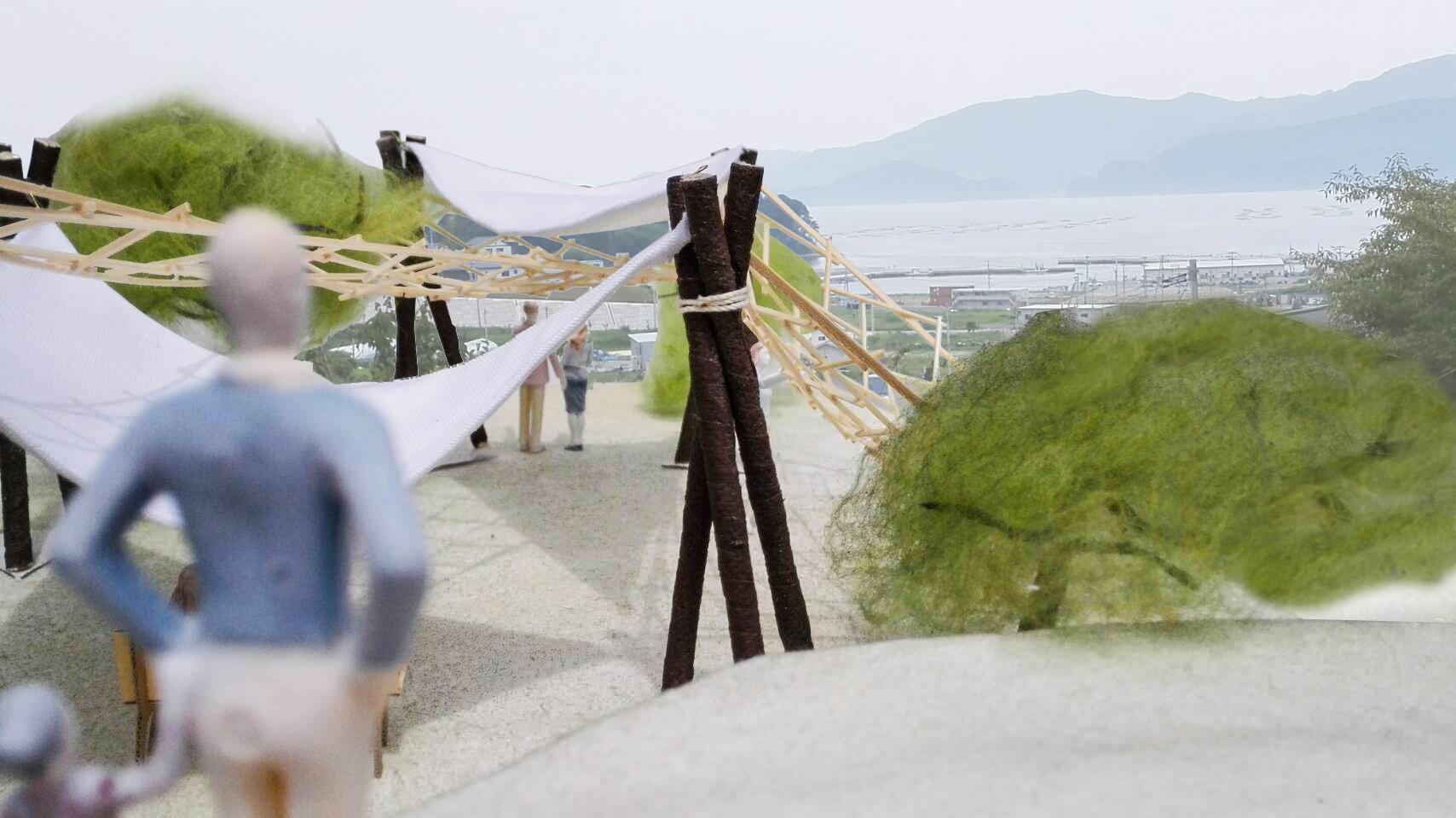 芝浦工業大学の学生団体が岩手県陸前高田市に東屋を建設中~津波から逃れた丘陵地を防災・コミュニティ拠点としてデザイン~