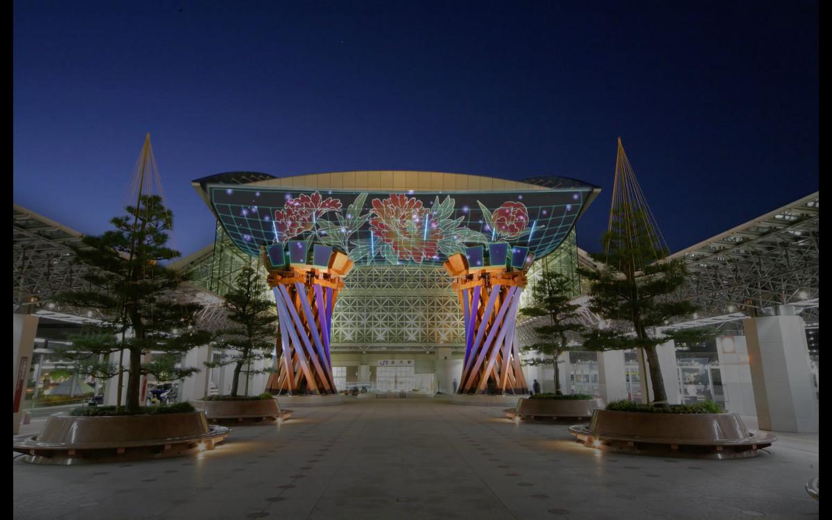 「世界の交流拠点都市金沢」の玄関を金沢工業大学の学生作品が彩る金沢駅もてなしドーム「鼓門」プロジェクションマッピング「金澤月見ゲート」開催