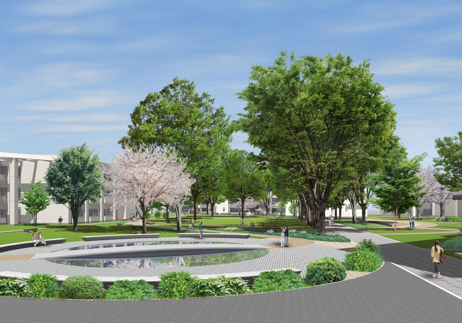 江戸川大学駒木キャンパスが8月初旬にリニューアル -- 緑の広場の設置や、安全対策工事が完了