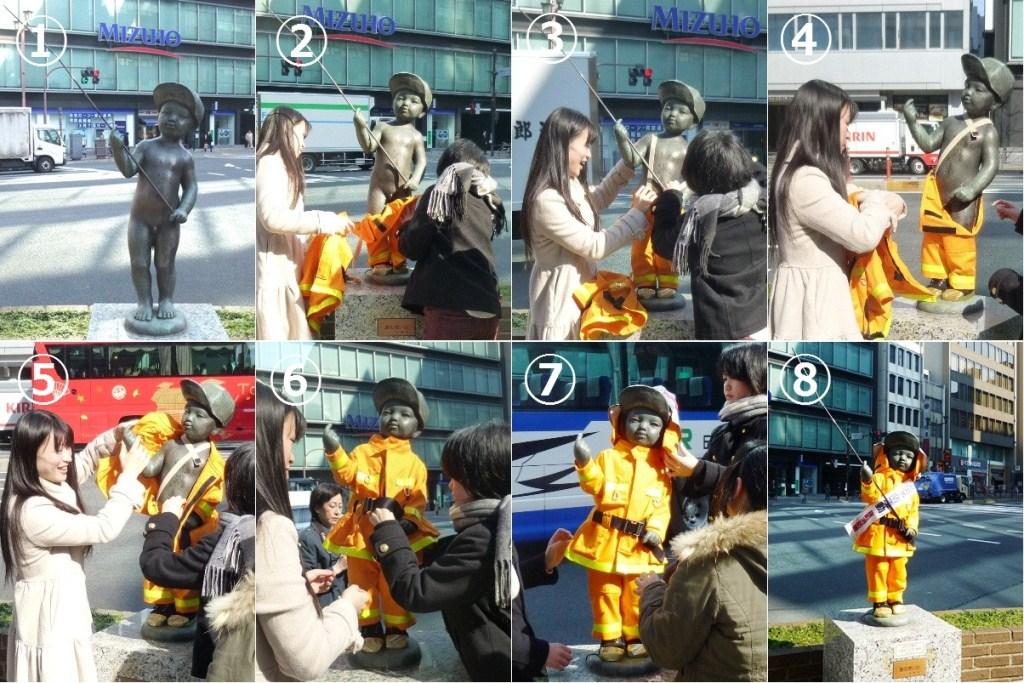大妻女子大学生が千代田区の火災予防に協力――子どものブロンズ像に手作りの消防服を着せて「春の火災予防週間」をPR