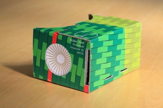明治大学 宮下芳明教授らが技術協力した、株式会社WHITEのタッチインターフェース搭載型ダンボール製VRゴーグル「MilboxTouch」のプロトタイプを発表