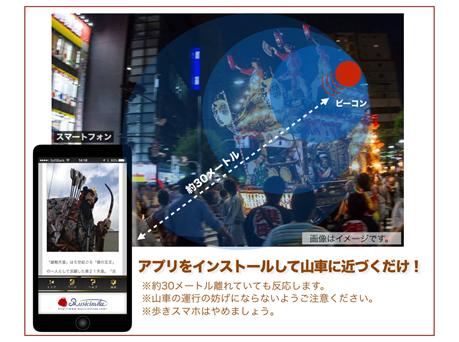 """東京工科大学メディア学部が江戸時代から続く山車祭りでIoTを活用した初の試み -- ビーコンを使って""""山車""""の歴史をスマートフォンに提供 -- 8月6・7日 八王子まつり会場(東京都八王子市)"""