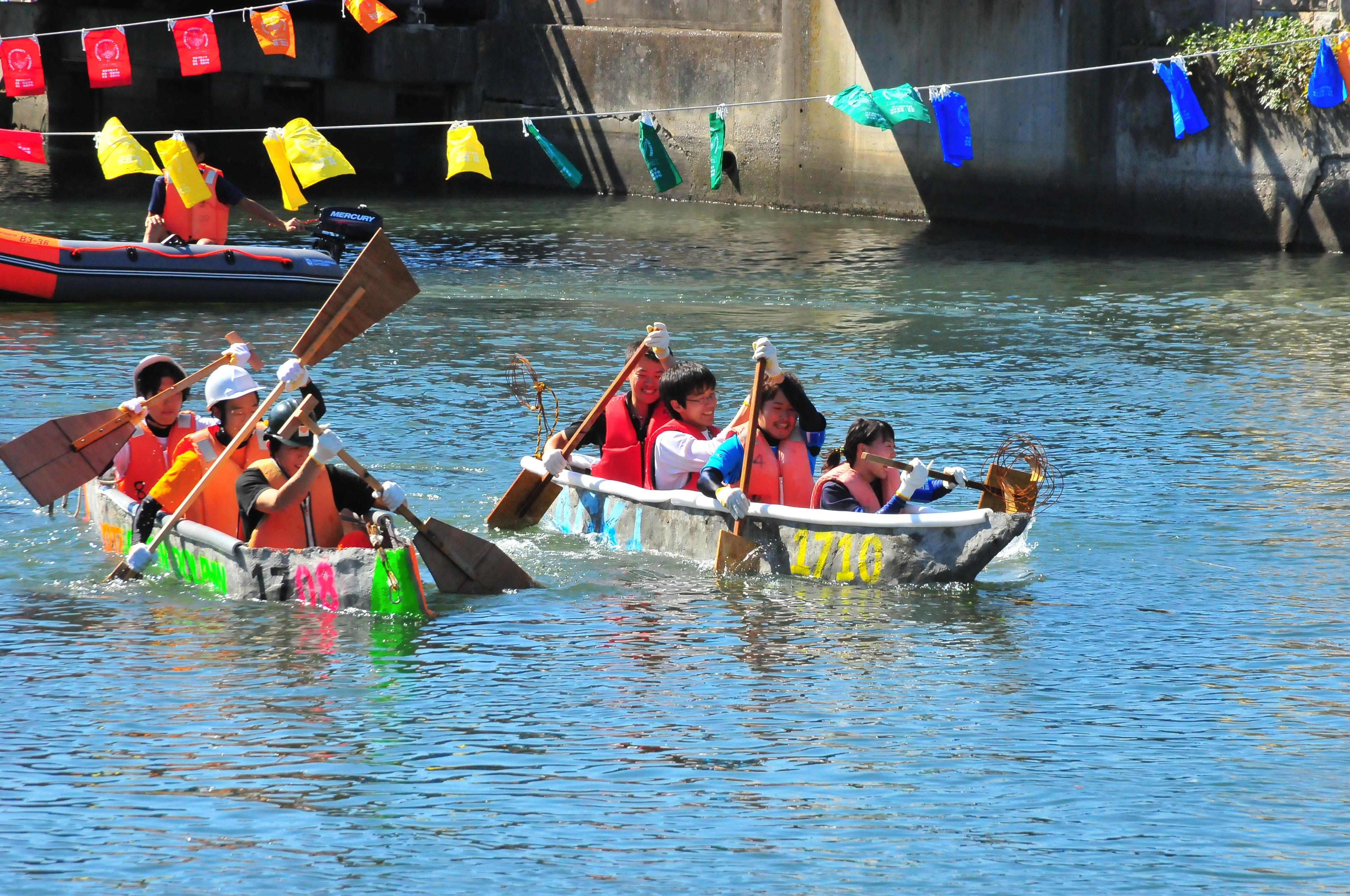 沈没続出!?コンクリートでつくったカヌーで、全長600mのレースを開催します。