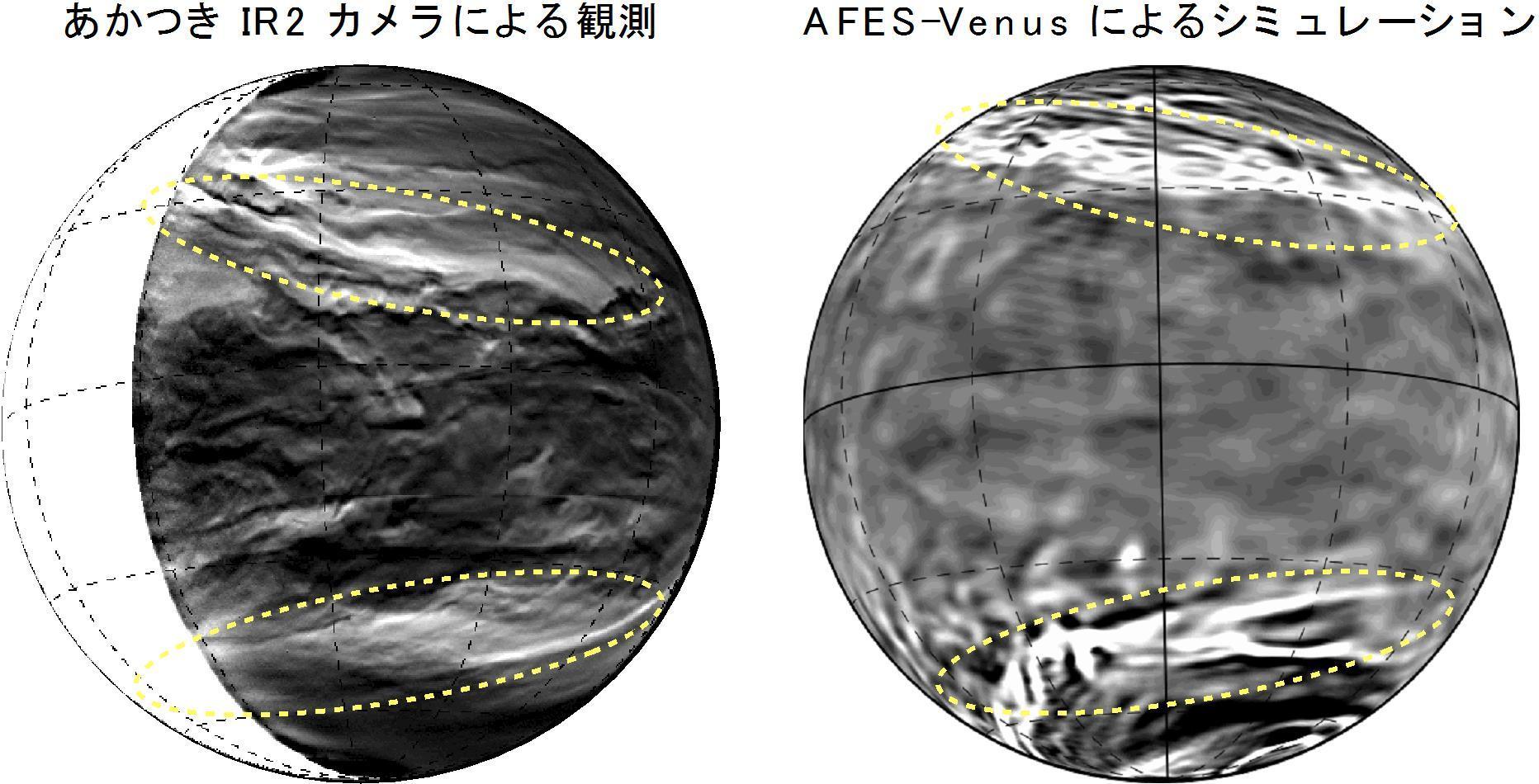 金星探査機「あかつき」が金星の雲の中に巨大な筋状構造を発見 数値シミュレーションによる再現・メカニズム解明にも成功 -- 京都産業大学