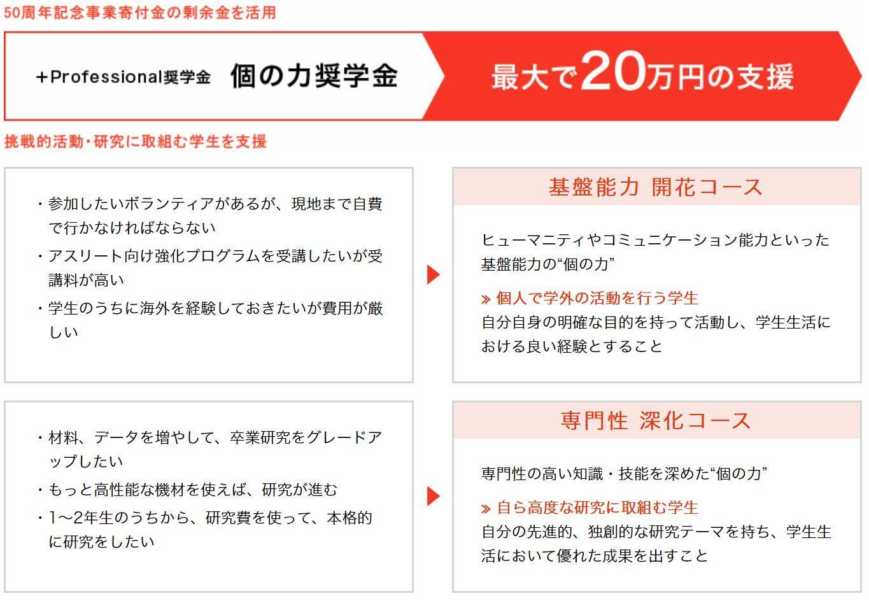 北海道科学大学では、新たな奨学金制度「+Professional奨学金(個の力奨学金)」を創設します